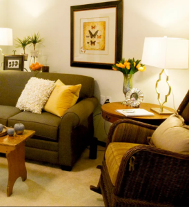 Comfortable living room area in a one bedroom home.